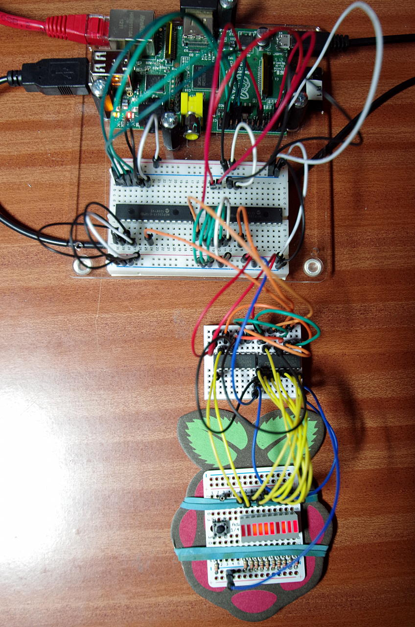 This is the testing setup. The larger breadboard has the MCP23S17 (left)  and the MCP23017 (right) on it, the smaller breadboard the pair or 74HC595  shift ...